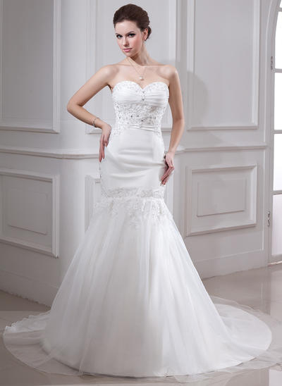 Simple Chapel Train Trumpet/Mermaid Wedding Dresses Sweetheart Satin Organza Sleeveless (002000325)