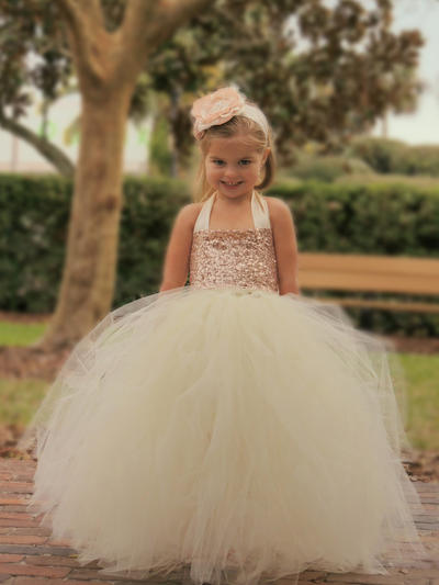 Newest Floor-length Ball Gown Flower Girl Dresses Halter Tulle/Sequined Sleeveless (010145221)
