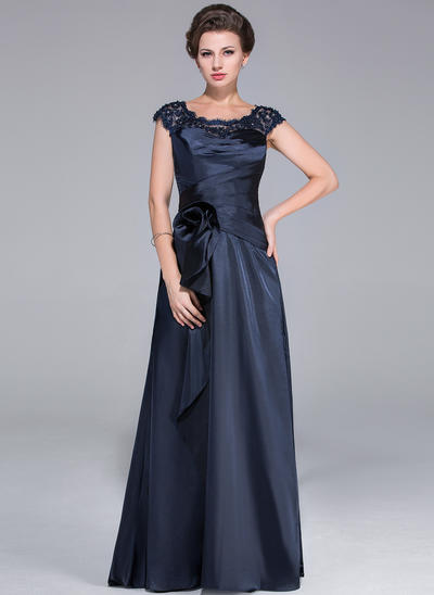A-Line/Princess Scoop Neck Charmeuse Sleeveless Sweep Train Ruffle Lace Beading Flower(s) Cascading Ruffles Mother of the Bride Dresses (008210486)
