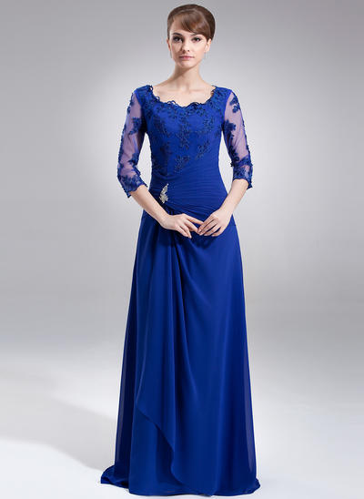 A-Line/Princess Square Neckline Chiffon 3/4 Sleeves Sweep Train Ruffle Beading Appliques Lace Mother of the Bride Dresses (008006306)