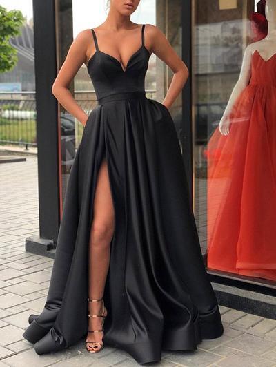 A-Line/Princess V-neck Satin Sleeveless Sweep Train Split Front Evening Dresses (017217888)