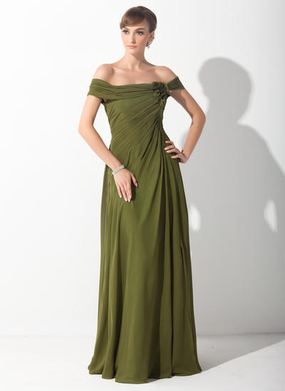 A-Line/Princess Off-the-Shoulder Chiffon Sleeveless Sweep Train Ruffle Flower(s) Mother of the Bride Dresses (008211387)