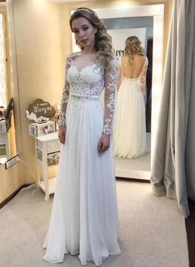 Delicate Floor-Length A-Line/Princess Wedding Dresses Scoop Chiffon Long Sleeves (002144812)