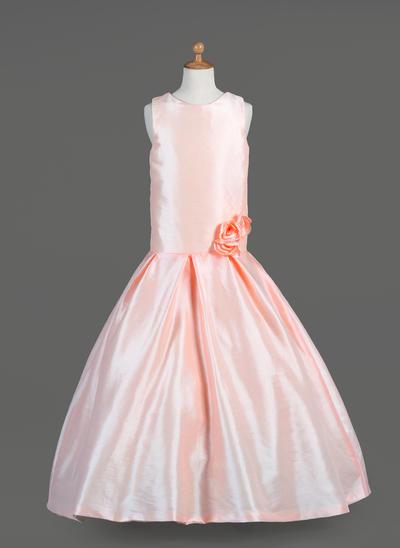 Chic Floor-length A-Line/Princess Flower Girl Dresses Scoop Neck Taffeta Sleeveless (010014651)