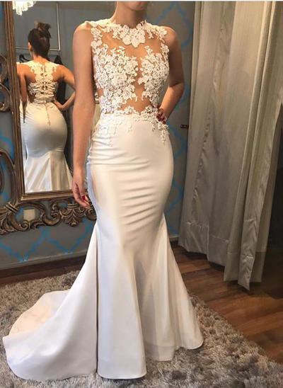 Chic Court Train Trumpet/Mermaid Wedding Dresses Scoop Satin Sleeveless (002146927)