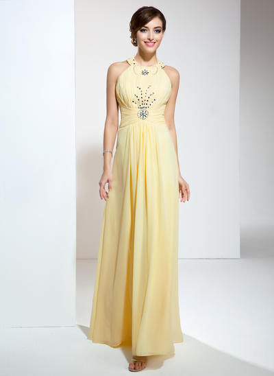 Chiffon Sleeveless A-Line/Princess Prom Dresses Halter Ruffle Beading Floor-Length (018020617)