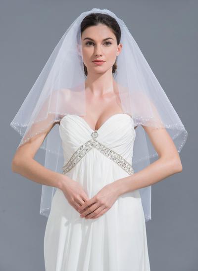 Fingerspitze Braut Schleier Tüll Zweischichtig Klassische Art mit Perlenbesetzter Saum Brautschleier (006152128)