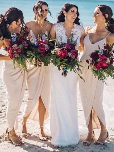 Chiffon Sleeveless Sheath/Column Bridesmaid Dresses V-neck Ruffle Asymmetrical (007145161)