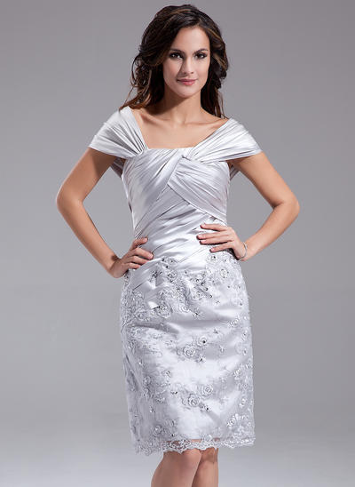Sheath/Column Off-the-Shoulder Charmeuse Sleeveless Knee-Length Ruffle Beading Sequins Mother of the Bride Dresses (008211218)