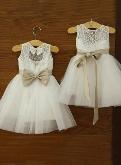 Chic Knee-length A-Line/Princess Flower Girl Dresses Scoop Neck Tulle/Lace Sleeveless (010146785)