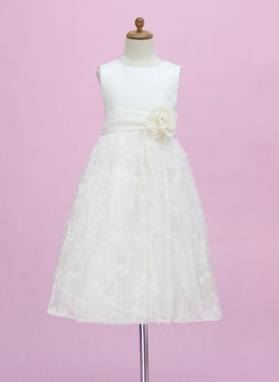 Chic Ankle-length A-Line/Princess Flower Girl Dresses Scoop Neck Satin/Lace Sleeveless (010005340)