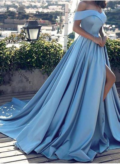 Satin Sleeveless A-Line/Princess Prom Dresses Off-the-Shoulder Split Front Court Train (018145556)