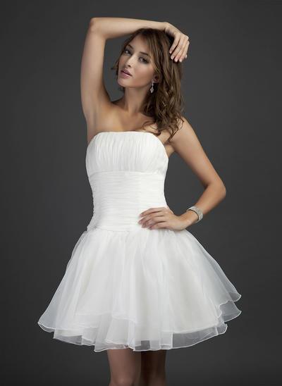Organza Sleeveless A-Line/Princess Bridesmaid Dresses Strapless Ruffle Short/Mini (007051839)