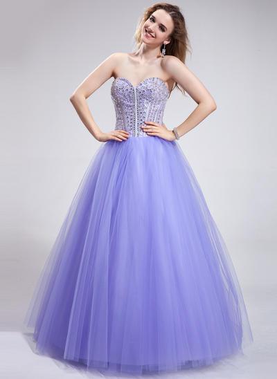 Tulle Sleeveless Ball-Gown Prom Dresses Sweetheart Beading Sequins Floor-Length (018025286)