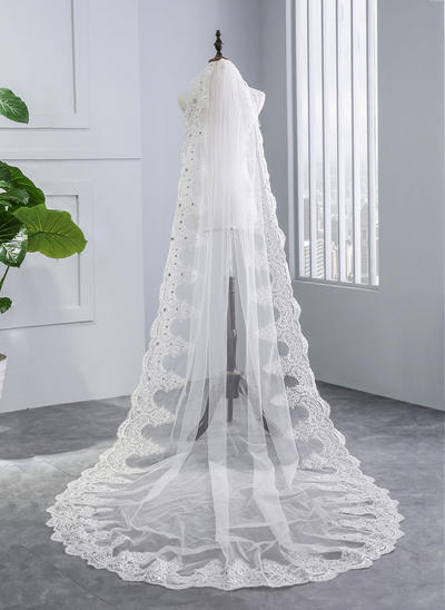 Chapel Bridal Veils Tulle One-tier With Lace Applique Edge With Rhinestones Wedding Veils (006152519)
