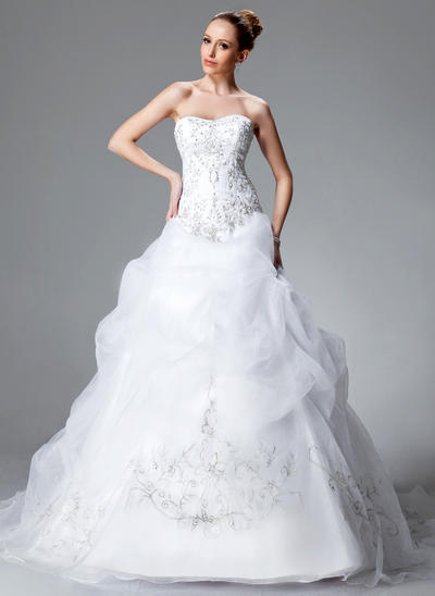Flattering Chapel Train Ball-Gown Wedding Dresses Sweetheart Satin Organza Sleeveless (002004178)