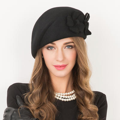 Wool With Flower Beret Hat Beautiful Ladies' Hats (196194270)