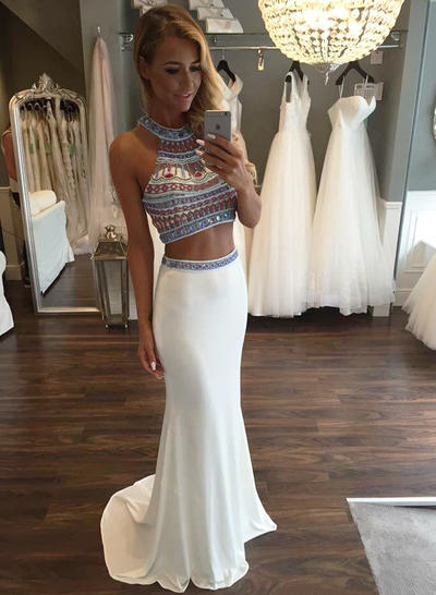 Jersey Sleeveless Trumpet/Mermaid Prom Dresses Scoop Neck Beading Sweep Train (018145920)