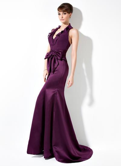 Chiffon Satin Sleeveless Trumpet/Mermaid Bridesmaid Dresses Halter Bow(s) Cascading Ruffles Sweep Train (007004275)
