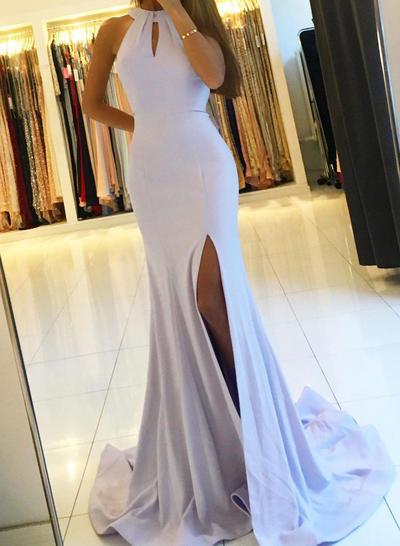 Jersey Sleeveless Sheath/Column Prom Dresses Halter Ruffle Sweep Train (018210995)