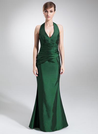 Taffeta Sleeveless Trumpet/Mermaid Bridesmaid Dresses Halter Ruffle Floor-Length (007000875)