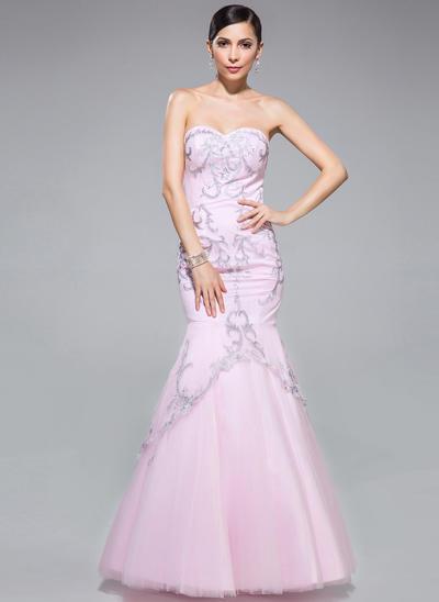 Tulle Sleeveless Trumpet/Mermaid Prom Dresses Sweetheart Embroidered Floor-Length (018046236)
