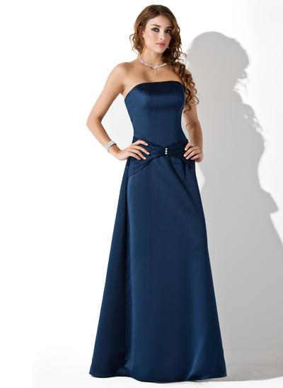 Satin Sleeveless A-Line/Princess Bridesmaid Dresses Strapless Ruffle Beading Floor-Length (007001806)