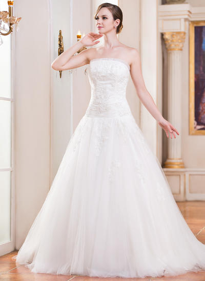 Gorgeous Cathedral Train Ball-Gown Wedding Dresses Strapless Tulle Sleeveless (002210570)