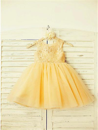 Gorgeous Knee-length A-Line/Princess Flower Girl Dresses Scoop Neck Tulle/Lace Sleeveless (010211934)