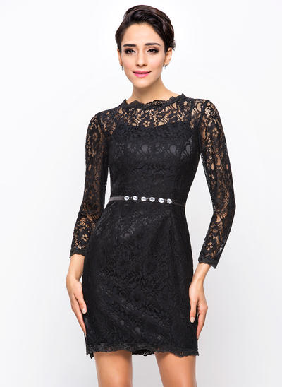Sheath/Column Scoop Neck Lace Long Sleeves Short/Mini Beading Cocktail Dresses (016210586)
