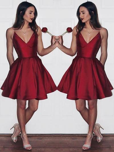 A-Line/Princess V-neck Satin Sleeveless Knee-Length Ruffle Homecoming Dresses (022212386)