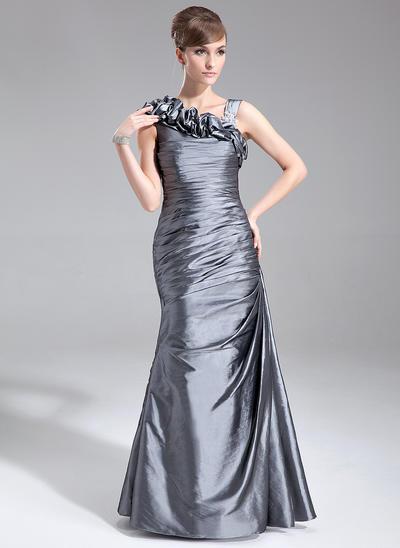 Trompete/Meerjungfrau-Linie Taft Ärmellos Bodenlang Rüschen Kleider für die Brautmutter (008005672)