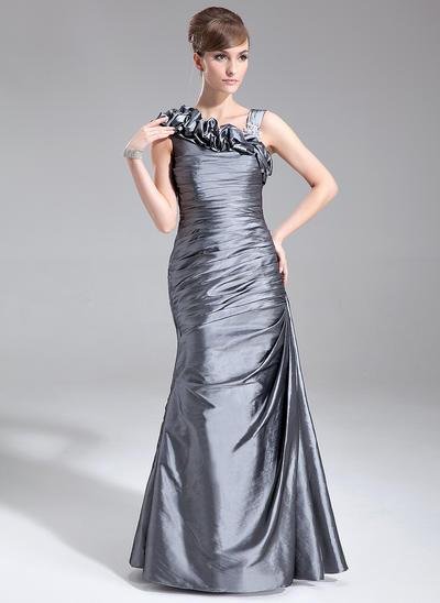 Trumpet/Mermaid Taffeta Sleeveless Floor-Length Ruffle Mother of the Bride Dresses (008005672)