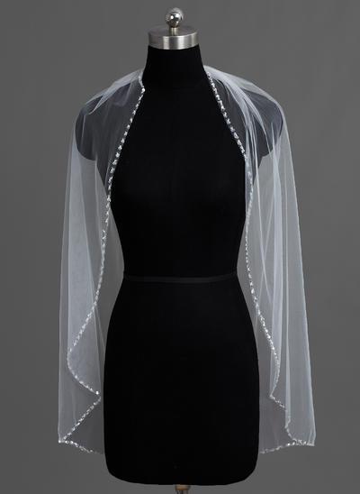 Fingerspitze Braut Schleier Tüll Einschichtig Klassische Art mit Perlenbesetzter Saum Brautschleier (006151741)