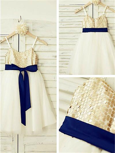 Delicate Tea-length A-Line/Princess Flower Girl Dresses Straps Tulle/Sequined Sleeveless (010212000)