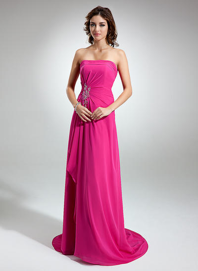 Chiffon Sleeveless A-Line/Princess Bridesmaid Dresses Strapless Beading Appliques Lace Cascading Ruffles Sweep Train (007001752)