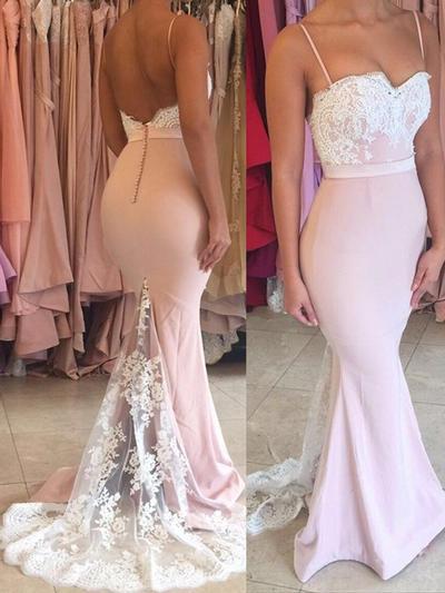 Jersey Sleeveless Trumpet/Mermaid Prom Dresses Sweetheart Lace Sweep Train (018145954)