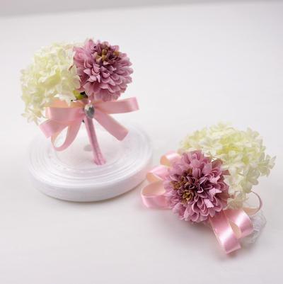 Armbandblume/Knopflochblume Freigeformt Hochzeit Seidentücher mit Blume/Bowknot Brautstrauß (123189920)