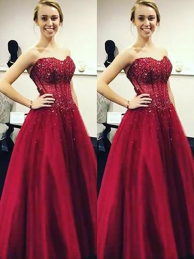 Tulle Sleeveless Ball-Gown Prom Dresses Sweetheart Beading Sequins Floor-Length (018148410)