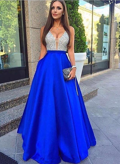 Satin Sleeveless A-Line/Princess Prom Dresses V-neck Beading Floor-Length (018146531)