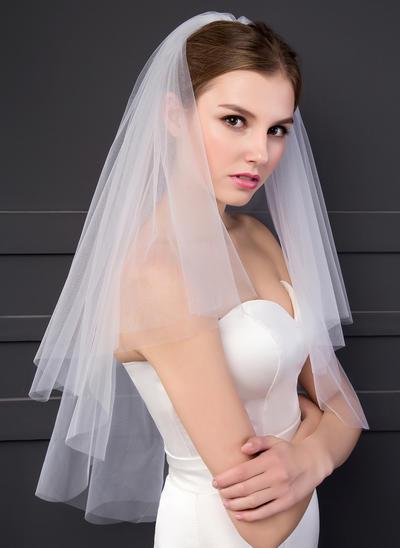 Ellenbogen Braut Schleier Zweischichtig Klassische Art mit Schnittkante 59.06 in (150cm) Brautschleier (006152550)