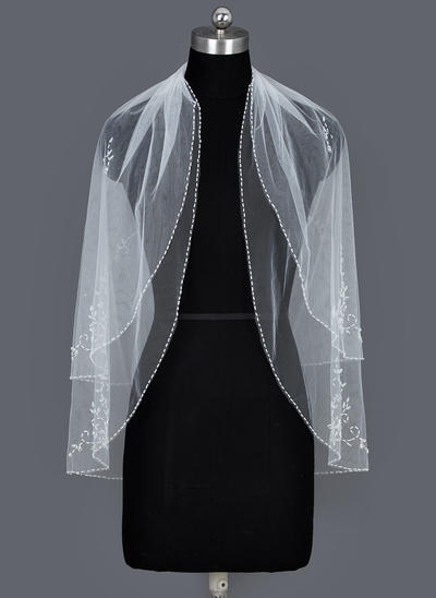 Fingerspitze Braut Schleier Tüll Zweischichtig Ovale mit Perlenbesetzter Saum Brautschleier (006151340)