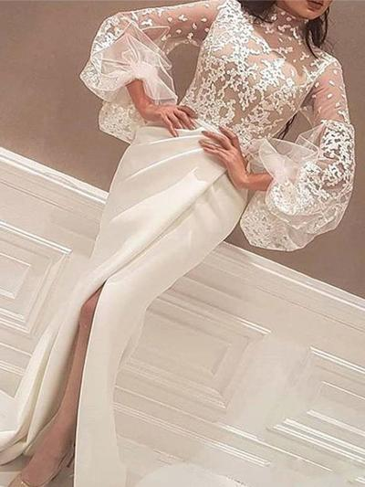 Satin Long Sleeves Trumpet/Mermaid Prom Dresses High Neck Lace Split Front Sweep Train (018218078)