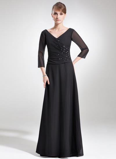 A-Line/Princess V-neck Chiffon 1/2 Sleeves Floor-Length Ruffle Beading Mother of the Bride Dresses (008006180)