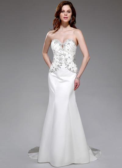 Satin Sleeveless Trumpet/Mermaid Prom Dresses Sweetheart Beading Sweep Train (018025645)