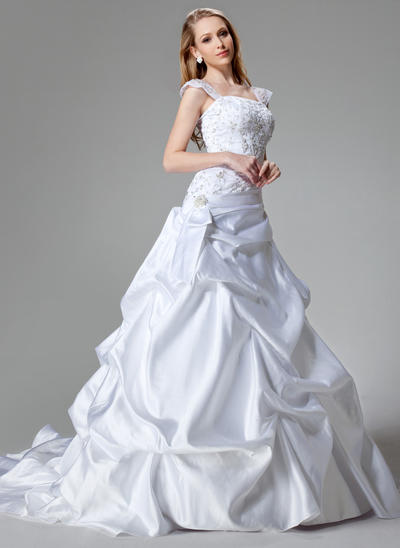 Beautiful Chapel Train A-Line/Princess Wedding Dresses Strapless Satin Sleeveless (002000436)