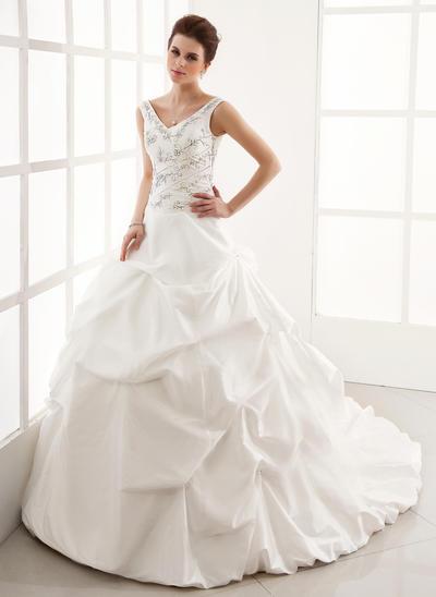 Glamorous Cathedral Train Ball-Gown Wedding Dresses Sweetheart Taffeta Sleeveless (002196829)