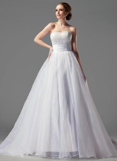 Delicate Court Train Ball-Gown Wedding Dresses Sweetheart Satin Organza Sleeveless (002004149)