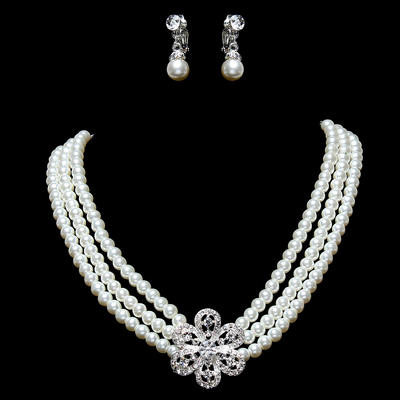Jewelry Sets Alloy/Pearl Rhinestone Lobster Clasp Earclip Wedding & Party Jewelry (011160027)