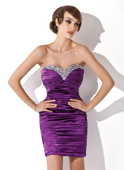 Sheath/Column Sweetheart Charmeuse Sleeveless Short/Mini Ruffle Beading Sequins Cocktail Dresses (016210438)